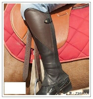 Borraq Black Leather Comfort Gaiters with Brown Leather Feature Panel