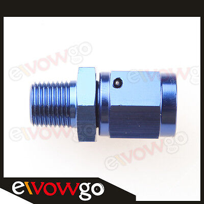 "Aluminum 3AN AN-3 Female Swivel To Male 1/8"" NPT Straight Adapter Fitting Blue"
