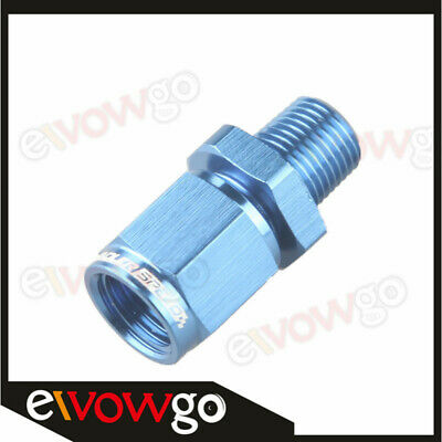 """-4AN AN4 Female Swivel To Male 1/8"""" NPT Straight Adapter Fitting Aluminum Blue"""