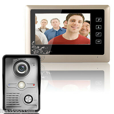 MOUNTAINONE 7 Inch Video Door Phone Doorbell Intercom System Kit Night Vision