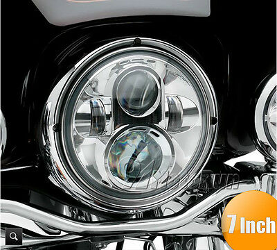 "7"" LED Chrome Projector Daymaker Headlight For Harley Electra Glide Road King"
