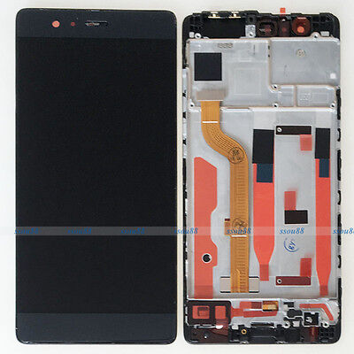 Black Huawei P9 Standard EVA-L09 LCD Display Touch Digitizer Assembly + Frame