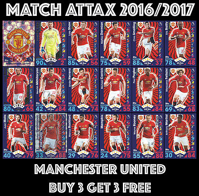 Match Attax 2016 2017 16/17 Choose Your Base Cards:  #181-198 Manchester United