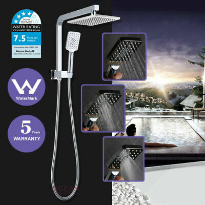WELS 2 in 1 Square 8'' Twin Shower Head Handheld Diverter Gooseneck Wall Arm Set