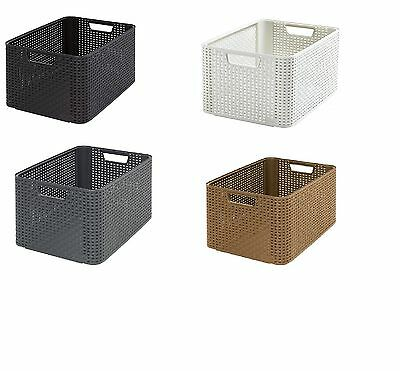 Curver Style Storage Basket Rattan Look Size L Second-Generation Polypropylene