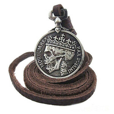 Fashion Men's charm Vintage Silver Skull pendant Alloy leather necklace