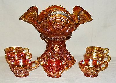 Carnival Glass Marigold Fashion Punch Bowl With Base & Seven Cups