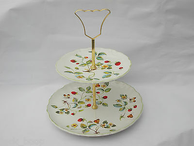 Vintage James Kent Old Foley Strawberry Two Tier Cake Stand.