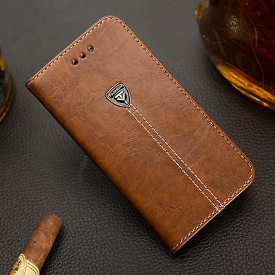 Luxury Magnetic Flip Leather Cover Stand Wallet Case For iPhone Samsung