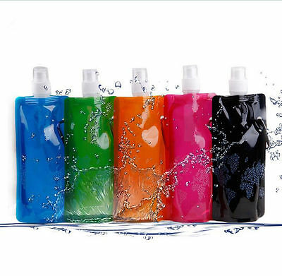 Folding Outdoor Sport Bottle Plastic Cups Collapsible Foldable Chic Water Bag