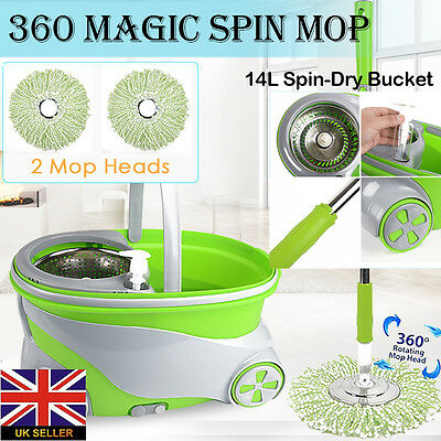 New Magic Mop 360° Spinning Stainless Steel Spin Bucket 2 Microfibre Mop Heads