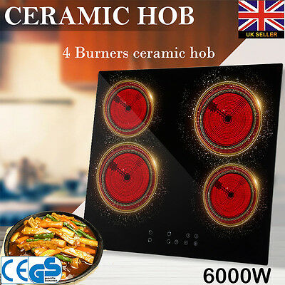 6000W Ceramic Hob Black Glass Electric Cooktop Touch Controls 4 Zone Cooking