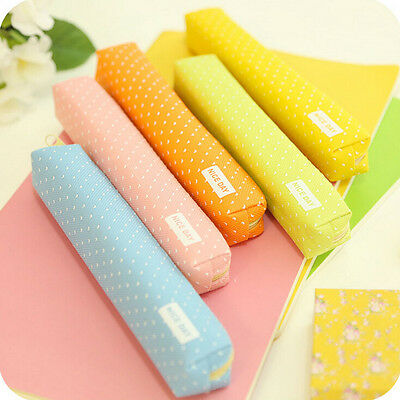 Candy Color Pencil Case Dot  Pen Bag Stationery Pouch Office School Supplies