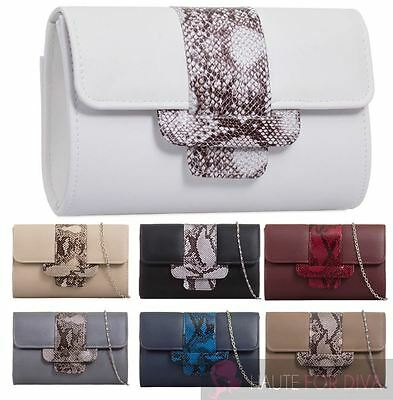 Women'S New Chain Strap Faux Leather Snakeskin Detail Party Clutch Bag Purse