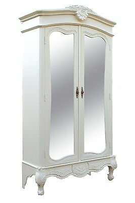 White French Double Wardrobe Hand Carved Mirrored Armoire Antique Shabby Chic