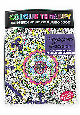 COLOUR THERAPY, ANTI STRESS,ADULT COLOURING BOOK,32 designs,MAGNIFICENT MANDALAS
