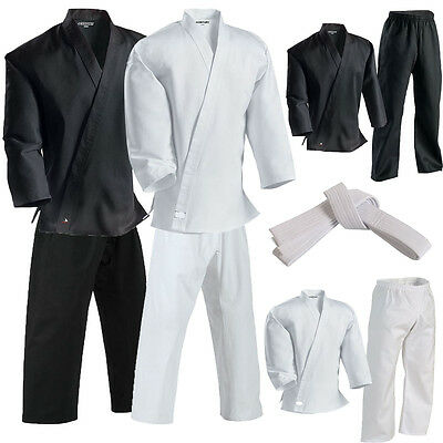 Adult Kids Karate Aikido Uniform Suits White And Black + Free Belt