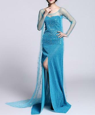 Frozen Adult Queen Princess Elsa Halloween Dress Costume Cosplay Party Dress