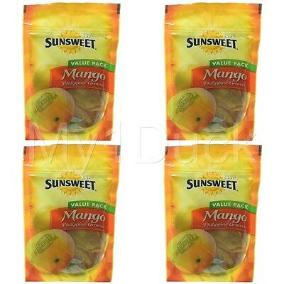 Sunsweet Philippine Grown Dried Mango Fruit Pouch ~  8 oz. ~ (4-PACK)