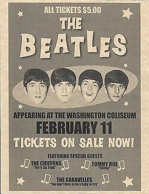 The Beatles Appearing At The Washington Coliseum   Concert Poster   Reprint