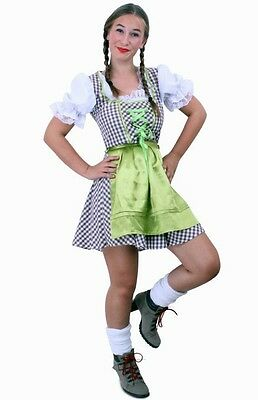 Dirndl Traditional Costume 2 Piece with Apron Set Oktoberfest Size 36-44 Brown