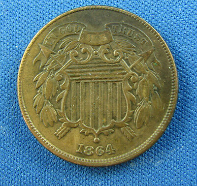 1864 two cents us high grade circulated