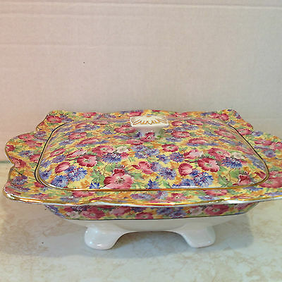 """Vintage Royal Winton Grimwades Chintz """"ROYALTY"""" Serving Dish with Lid"""