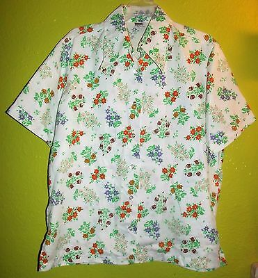 Vintage Montgomery Ward Floral Wide Collar 70's Shirt Blouse Top Size XL