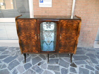 Lovely Italian Bar Cabinet Burr Walnut Veneered From 1950