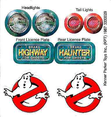 Replacement Sticker Sheet For Vintage Kenner Real Ghostbusters Highway Haunter