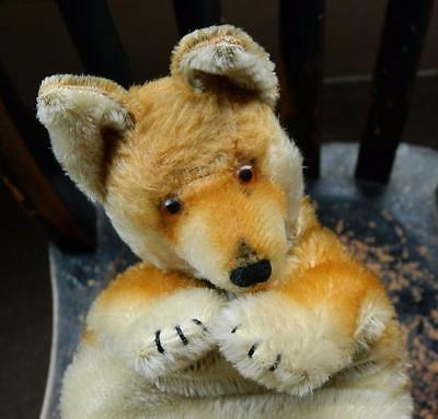 STEIFF VINTAGE 1952-58 MOHAIR FOX HAND GLOVE PUPPET WITH GLASS EYES NO IDs