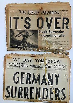 2 Newspapers World War 2 | NAZI GERMANY SURRENDERS May 7 1945 | V-E DAY WW2 WWII