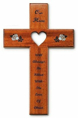 """OUR HOME Wall Cross Solid Mahogany Wood 12"""" Christian Decor Heart Cut-Out"""