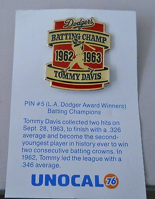Vintage 1988 Unocal 76 Los Angeles Dodgers Tommy Davis Batting Champ pin