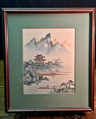 Vintage Frame Asian Scene Hand Painted Silk Painting Framed Matted Japan China