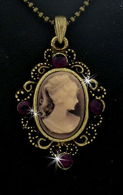 Victorian Lady Style Cameo Crystal Charm Pendant Chain Necklace Purple