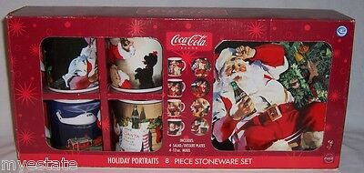 New Boxed 8 Piece Coca-Cola Santa HOLIDAY PORTRAITS Stoneware Plate & Mug Set
