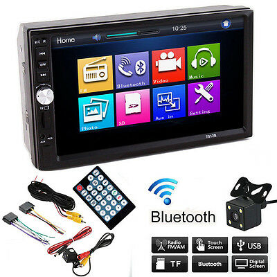 "Bluetooth Car Vehicle Stereo Radio Audio Touch Screen HD 7"" With Camera 2 DIN"