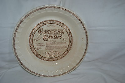 Collectible Vintage Cheese Cake Recipe Pie Plate Fluted Edges Jeanette with Logo