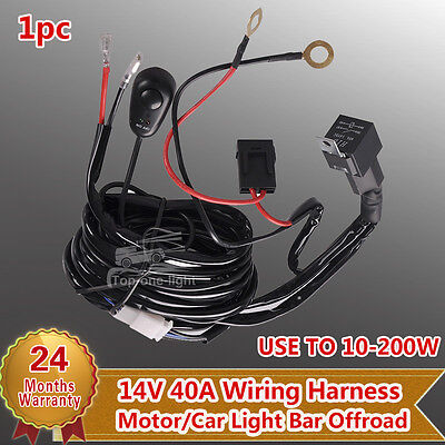 10ft 3m Wiring Harness Kit Loom 40A 12V Switch Relay For LED Work Light Bar