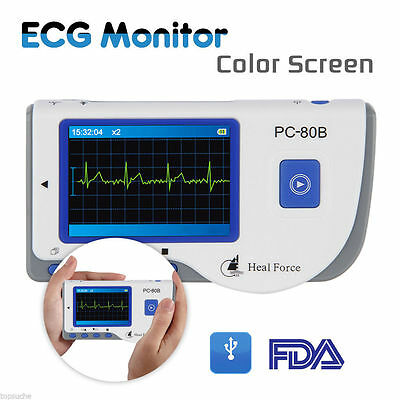 HEAL FORCE PC-80B Handheld Color ECG EKG Portable Heart Monitor + Electrodes