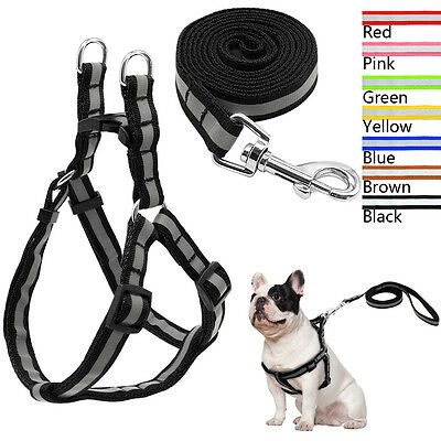 Reflective Nylon No Pull Dog Harness and Leash Set for Dogs Walking 7 Colors M L
