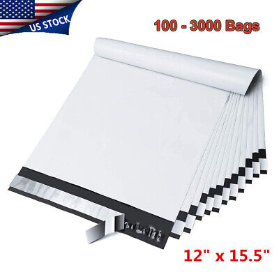 100-3000 12 x 15.5 Poly Mailer Envelope Self Sealing Plastic Shipping Bag 2.5Mil