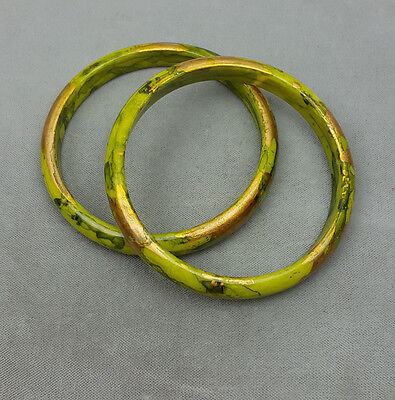 Pair vintage plastic bangle bracelets marbled chartreuse green and gold