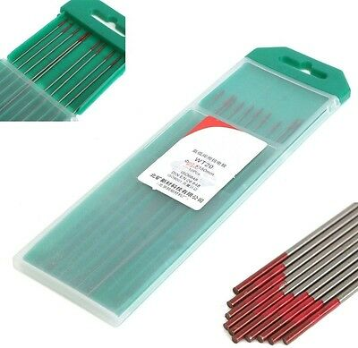 10Pcs 2% Thoriated WT20 Red TIG Welding Tungsten Electrode 0.04inch x6inch Tool