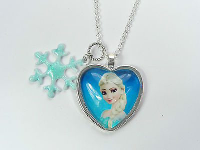 Girls Disney Frozen Elsa Glass Dome Heart With Snowflake Necklace