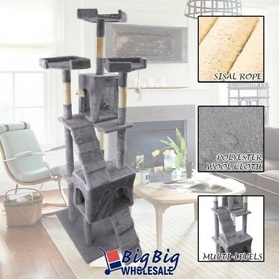 73'' Cat Tree Deluxe Tower Condo Playhouse Scratching Post Kitten Furniture Gray