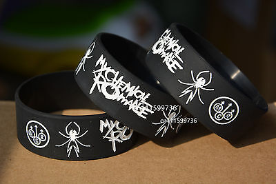 """MY CHEMICAL ROMANCE Silicone 1"""" Wide Debossed Wristband Bracelet"""