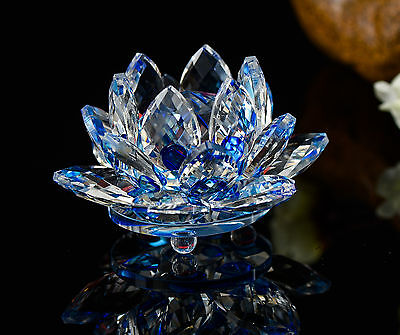Feng Shui Blue Crystal Glass Lotus Flower Natural Stone with box Home Decor