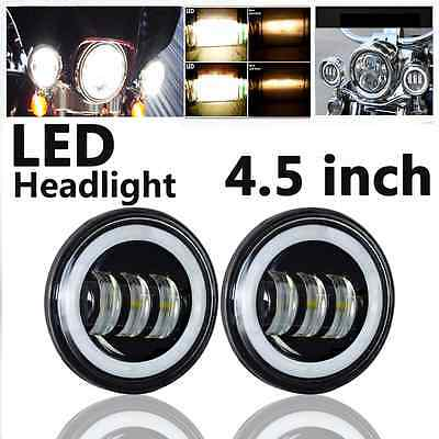 """2x 4-1/2"""" LED Auxiliary Spot Fog Passing Light Lamp For Harley Motorcycle"""